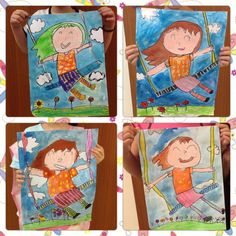 """Elementary art by my students: """"Girl on the swing"""""""