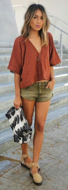 Free People - v-neck top, denim shorts, ankle strap espadrilles / Sincerely Jules -- 60 Stylish Spring Outfits @styleestate