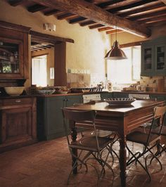 """Photo from the book """"Restoring A Home In Italy"""" by Elizabeth Helman Minchilli. European Kitchens, Rustic Kitchens, Luxury Kitchens, Rustic Italian Decor, European Decor, Buy My House, Tuscan Homes, Green Kitchen Cabinets, Cottage Interiors"""