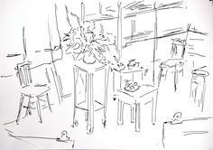 look in to my studio // ink on paper