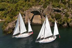 """lake Taupo Cruise to Maori Rock Carvings Sailing tours aboard the """"Barbary"""" an adventurous, eco friendly year-round sailing activity on Lake Taupo. Sailing Cruises, Classic Sailing, Romantic Vacations, Water Activities, Family Adventure, Great Lakes, Days Out, New Zealand, Cool Photos"""