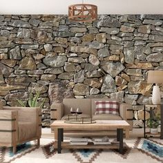 Wallpaper mural of stone wall, love it! Vinyl Wall Panels, Wood Panel Walls, Wood Wall, Wall Decal, Cabana, Faux Stone Walls, Stone Wall Tiles, Tongue And Groove Panelling, Stone Siding