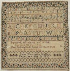 19TH CENTURY LINEN & SILK WORK SAMPLER BY ANNE ELEANORA HALLEN 1833