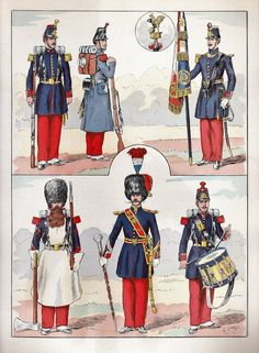 French; Line Infantry 1848 from Hector Large's Le Costume Militaire Vol III,