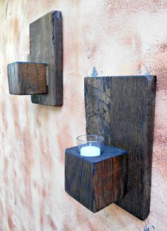 Wood Wall Sconce Rustic Candle Sconce by RobsRusticCreations