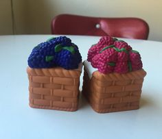 Raspberry and Blackberry Fruit Basket Vintage Salt and Pepper Shakers