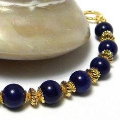 Beaded Bracelet Beaded Jewelry Navy Blue Bracelet by marilyn1545, $10.00