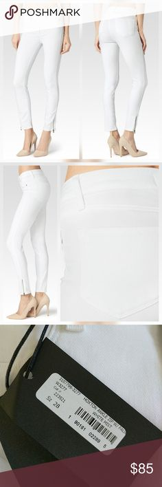 "Paige Hoxton High Rise White Ankle Zip Jeans New with tags. Perfect condition. No trades.  Soft stretchy transcend fabric. Faux front pockets.  Approximate measurements:  Waist flat across 15"" Rise 10"" Inseam 28"" Leg opening flat across 5.5"" Paige Jeans Jeans"