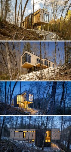 Christopher Simmonds Architect have designed a cottage surrounded by woodlands in Val-des-Monts, Quebec, Canada.