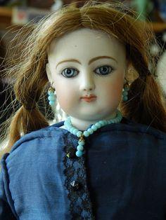 "BEAUTIFUL 15"" ANTIQUE FRENCH FASHION DOLL F.G. #4 -OLD DRESS & HUMAN HAIR WIG"