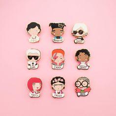 Sketchinc Icon Pins - Coco Chanel, Basquiat, Andy Warhol, Karl Largefeld , David Bowie , Prince , Yayoi Kusama , Frida Kahlo , Iris apfel
