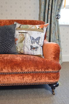 James Brindley Wordsworth sofa in our Vendee fabric. Cushions from Manuel Canovas and the James Brindley 2013 homewares collection. www.jamesbrindley.com for more details.