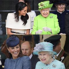Laughing with the Queen☺️❤️. - June 14th, 2018. . Photo: Meghan, Duchess of Sussex and Queen Elizabeth II of England during Meghan's first official appearance without Prince Harry, Duke of Sussex at Cheshire, England ✨❣️. - June 14th, 2018. . Having fun together. . Photo: Catherine, Duchess of Cambridge and Queen Elizabeth II of England visiting Vernon Park during a Diamond Jubilee visit to Nottingham in Nottingham, England- June 13th, 2012 . So much happiness. .
