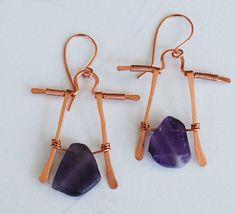 Amethyst Stone Copper Wire Wrap Purple Gemstone Earrings Jeanninehandmade #Jeanninehandmade #Wrap