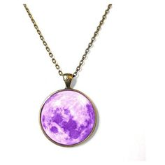 Cute Kawaii Pastel Purple Moon Necklace Pastel Goth Soft Grunge... ❤ liked on Polyvore featuring jewelry, necklaces, gothic jewelry, bronze pendant, purple jewelry, grunge necklaces and purple necklace