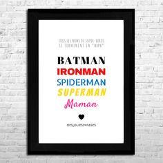 Affiche a4 : maman et les super-héros (couleur)