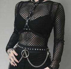 ღ pin; prin_cessz °.*; tags;; edgy . black . aesthetic . fishents . harness . chains . bra