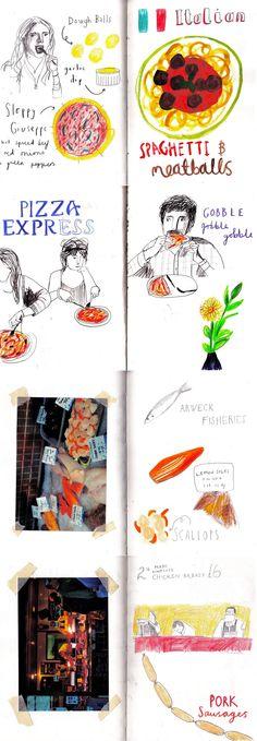 Sketchbook drawings by Hannah Tolson http://hannahtolson.blogspot.co.uk/2011/07/foooood.html