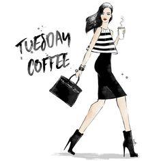 Back to work ladies 😘  .  .  #monday #tuesday #coffee #girl #fashion #artfashion #freelancelife #work #illustration #artist #ootd #fashionillustration #fashionart #blogger #style #inspiration #allblack #minimal #chanel #birkin #details #stripe #illustration #digitalillustration #art #chic
