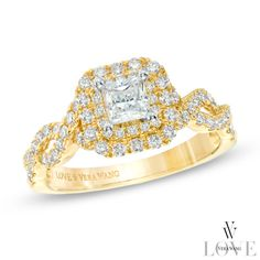 Vera Wang LOVE Collection 1 CT. T.W. Princess-Cut Diamond Double Frame Engagement Ring in 14K Gold