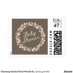 Charming Garden Floral Wreath Girl Baby Shower Postage Stamp zazzle.com