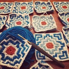 Crochet Motifs, Crochet Blocks, Crochet Squares, Crochet Blanket Patterns, Crochet Stitches, Knit Crochet, Knitting Patterns, Afghan Crochet, Afghan Patterns