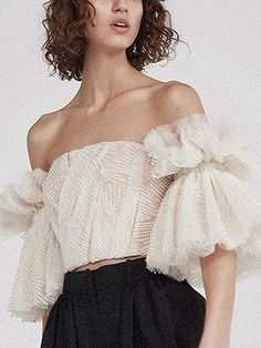 Strapless Shirt For Women Off Shoulder Embroidery Ruffles Flare Sleeve Sexy Short Tops Summer Fashion 2019 Clothing Fashion 2018, Look Fashion, Fashion Outfits, Womens Fashion, Fashion Design, Fashion Trends, Fashion Clothes, Latest Fashion, Fashion Tape