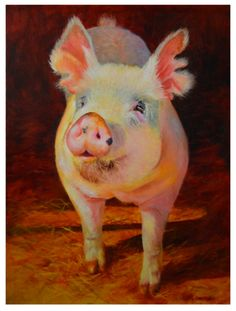 """The Painted Pig II is a 18""""x24"""" oil on deep profile canvas.  I painted him again in a larger format and have to say he makes me smile."""