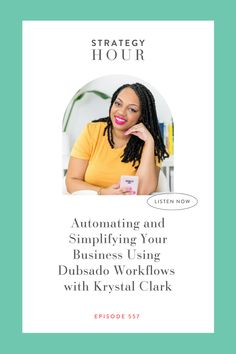 Learn how to automate your business workflows with Krystal Clark on this episode of the Strategy Hour podcast. Dubsado is the best CRM for creative businesses to streamline and automate systems and processes for a better client experience. Listen in at BOSSPROJECT.COM, but don't forget to hit that FOLLOW button first! Business Operations, Up And Running, Marketing Materials, Krystal, Starting A Business, Money Management, First Step, Saving Tips, Creative Business