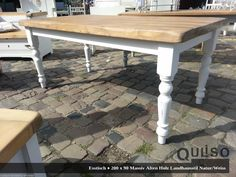 Romantic country house style dining table/plank table made of solid wood lumber handmade & measure t Wood Lumber, Old Wood, Plank Table, Wood Table, Dining Table Makeover, Esstisch Design, Small Kitchen Tables, Bleached Wood, Living Vintage