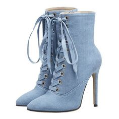 Tie Up Pointed Toe High Heel Denim Boots ❤ liked on Polyvore featuring shoes, boots, pointed toe high heels shoes, pointy toe shoes, pointed toe shoes, light blue boots and denim shoes