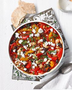 Harissa-spiced butter beans with peppers and feta Recipes to Try Bean Recipes, Veggie Recipes, Vegetarian Recipes, Cooking Recipes, Healthy Recipes, Cleaning Recipes, Vegetarian Dinners, Greek Recipes, Vegetarian Casserole