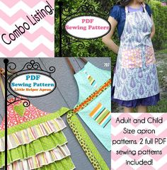 BOGO SALE Mommy and me aprons PDF Sewing Pattern by MaggieElizDesigns, $8.95 (on sale until Thurs, 6/12/14)