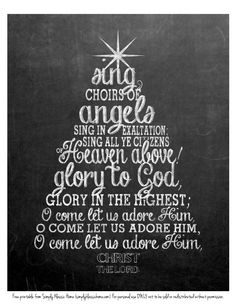 * FREE PRINTABLE *  O Come All Ye Faithful Chalkboard.   Please click on link to download PDF here:   http://www.scribd.com/doc/115537793/O-Come-All-Ye-Faithful-Chalkboard-Printable