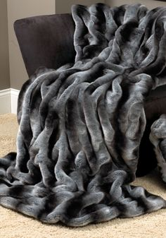 Grey Chinchilla Faux Fur Couture Throw Blankets - Home and Garden Design Ideas