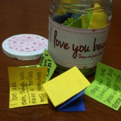 I love you because jar. I made this for Derek for valentines day and wrote on hundreds of pieces of paper why I love him.