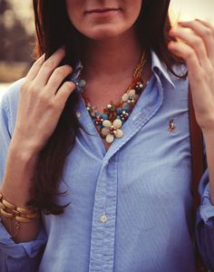 such a fun necklace paired with a basic oxford, coral pants, green bag, and flats.
