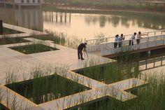 Project: Tianjin Bridged Gardens  Landscape Architect: Turenscape (Beijing Turen Design Institute)  Location: Tianjin City, China  Area: 22ha  Completion: 2008
