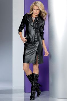 leather skirt and matching jacket
