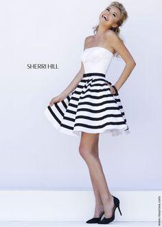 Sherri Hill 32200 - White/Black Stripe Strapless Short Cocktail Party Dress - RissyRoos.com