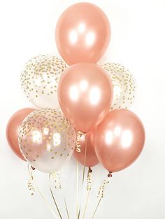 ROSE GOLD Balloon Bouquet - Mix of 8 Latex Balloons in Rose Gold and Confetti-Printed Balloons - Rose Gold Balloons, Confetti Balloons Ballon iDeen 🎈 Glitter Ballons, Mini Balloons, Rose Gold Balloons, Printed Balloons, Latex Balloons, Birthday Decorations, Baby Shower Decorations, Birthday Fun, Birthday Parties