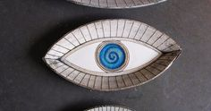 Evil Eye decorative plate blue and gray Ceramic decorative plate medium