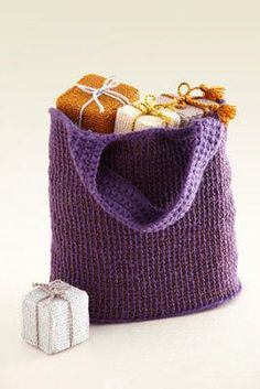 Lion Brand® Two-Color Tunisian Crochet Tote