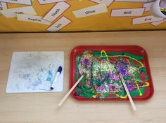 Dragonflies Classroom 'Chinese New Year' mark making area (using chopsticks)