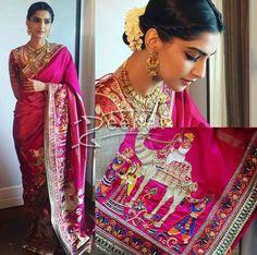 Sonam Kapoor In Aby Jani Sandeep Khosla Saree ❤️beautiful saree Indian Attire, Indian Outfits, Indian Dresses, Indian Wear, Trendy Sarees, Stylish Sarees, Saris, Lehenga, Indian Look