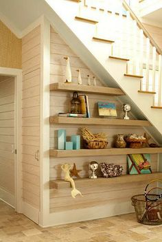 Open Shelves Under Stairs perfect for mudroom to hold shoes and baskets to fill . Open Shelves Under Stairs perfect for mudroom to hold shoes and baskets to fill with gloves hats scarves etc Shelves Under Stairs, Space Under Stairs, Stair Shelves, Staircase Storage, Stair Storage, Floating Shelves, Open Shelves, Book Shelves, Display Shelves