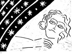 The Dreamer Linoprint #linoprint #linocut #woman #dreamer #lizaborovskaya