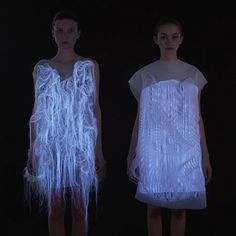These gaze-action dresses are the coolest thing you'll see all day!  (No)here dresses designed by Ying Gao use an eye tracking system to detect when a specator is looking to activate motion and lights in the dress. (june 2013)