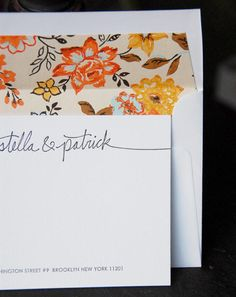 this beautiful new stationery from liz at linda + harriett uses vintage wallpaper as the envelope liners and is cut and placed by hand