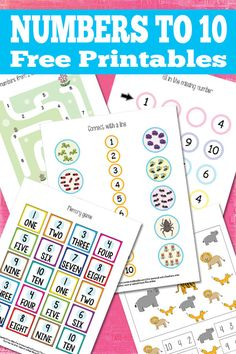 Numbers to 10 worksheets for kids